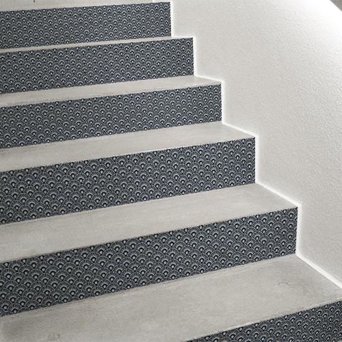 Sticker de contremarche d'escalier écailles bleu Japon