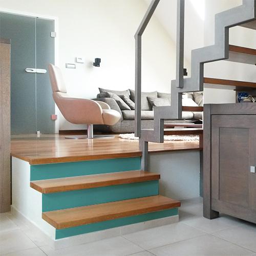 Sticker pour contremarche d'escalier et tiroirs de commode uni bleu