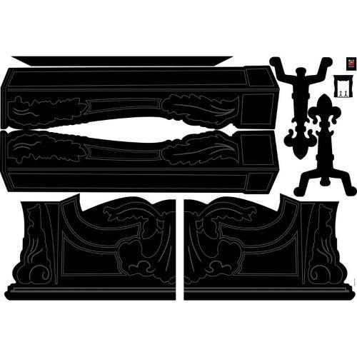 Kit déco pour fausse cheminée noire - stickers silhouette cheminée