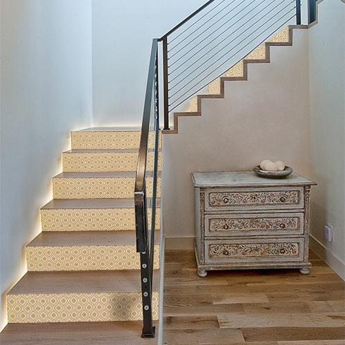 Stickers décoratifs pour contremarches d'escalier, modèle vintage, jaune orangé