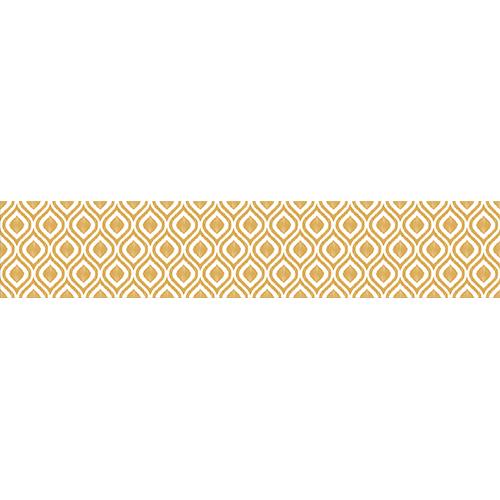 Adhésif décoratif pour contremarches d'escalier, modèle rétro vintage, jaune safran