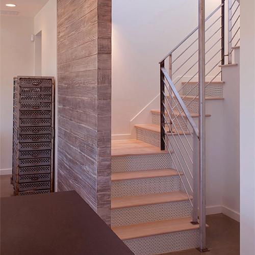 Autocollant adhésif décoratif pour escalier, inspiration Factory, gris métallisé, tôle galvanisée