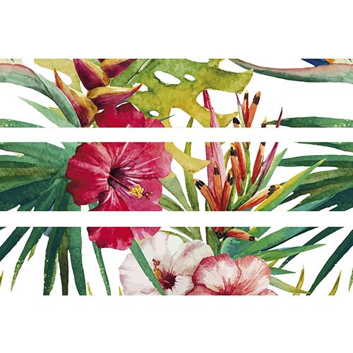 Sticker contremarche d'escalier avec fleurs de la jungle