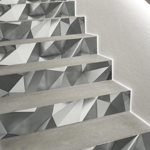 Escalier moderne personnalisé avec un 3D minérale grâce aux contremarches adhésive cristaux gris en trompe-l'oeil.