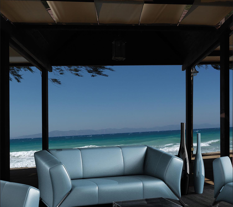 Nuances de bleu dans votre salon entre votre canapé et la mer turquoise