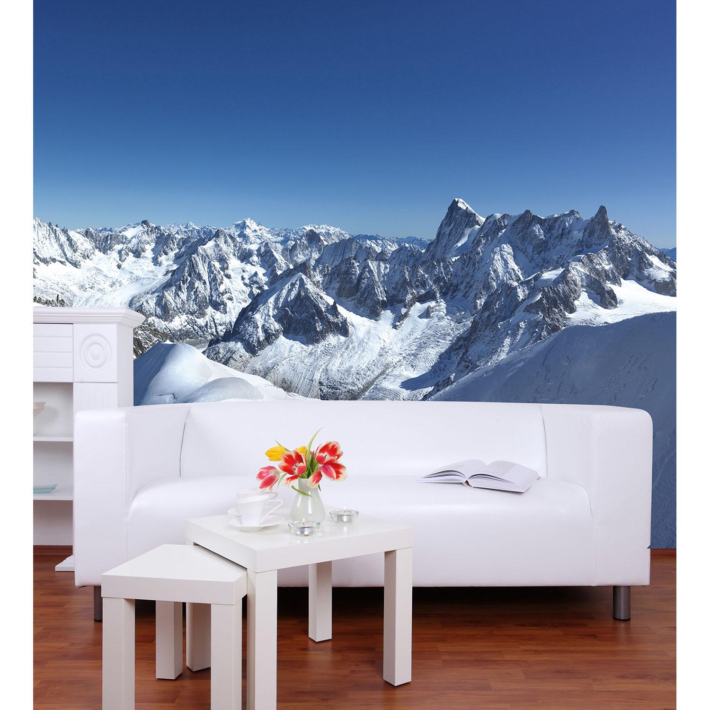 Revêtement mural décoratif avec photo de montagnes avec de la neige