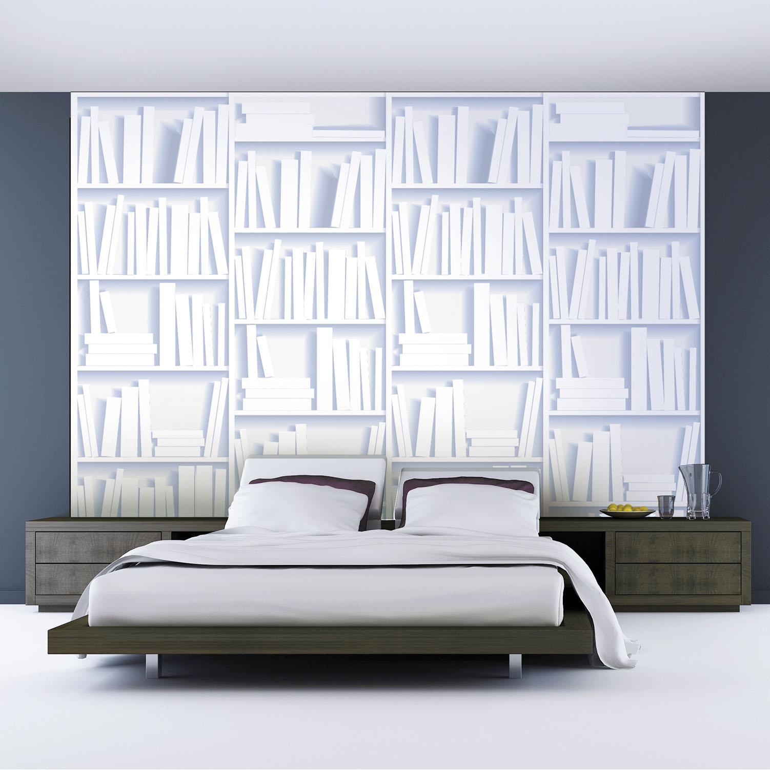 panoramique à coller étagères blanches avec livres blancs