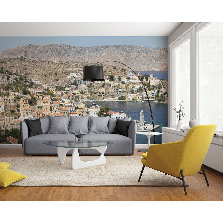 Mur d'image avec photo grèce dans un salon moderne