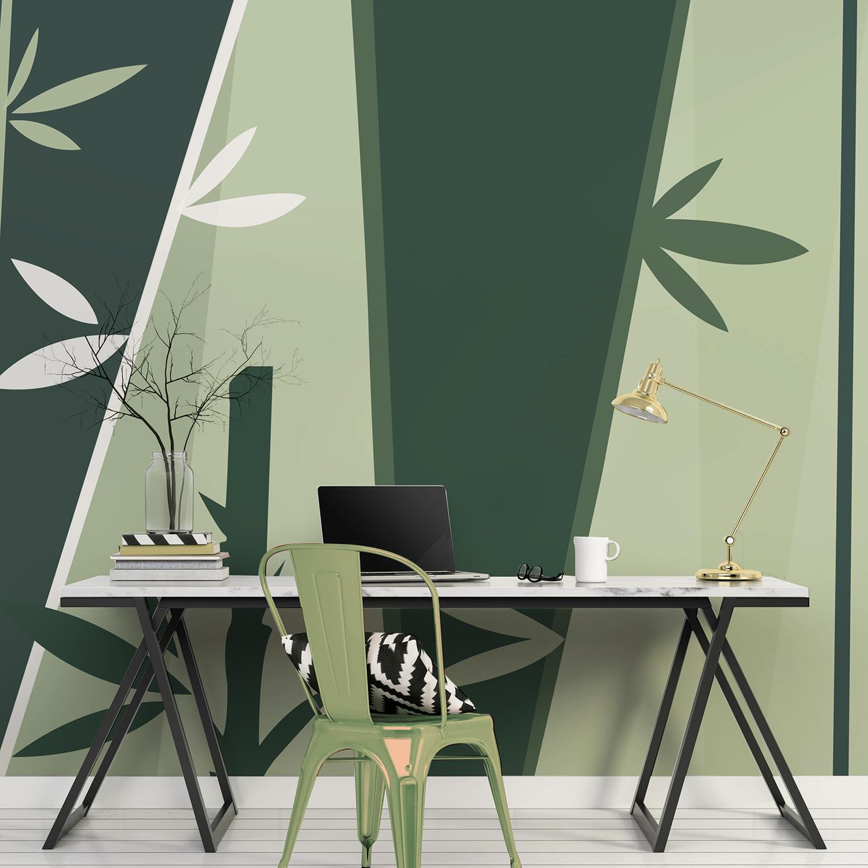 Poster décoratif à coller, mur d'image thème zen, illustration design, motif bambou, feuillage vert, fond vert