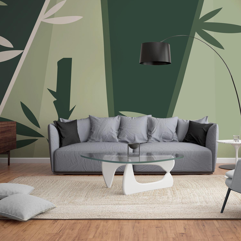 Mur d'image grand format, bandes de papier intissé à encoller, tendance bio zen, camaïeu de verts