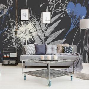 Déco fleurs bleues sur fond gris anthracite