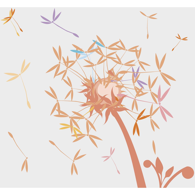 Poster décoratif à coller, illustration moderne sur fond blanc, envolées de graines de pissenlit, couleurs acidulées
