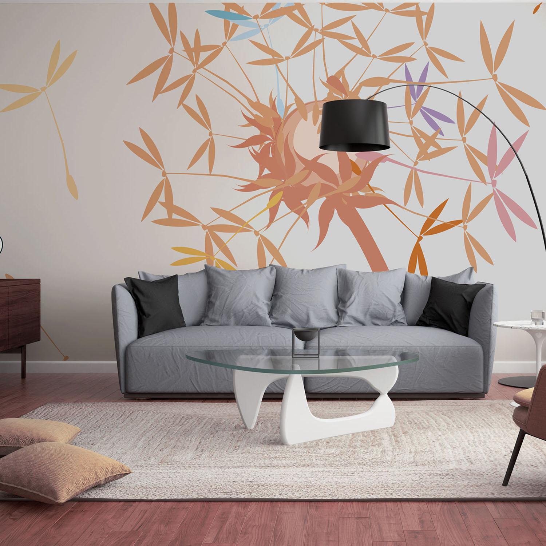 Visuel décoratif à coller, revêtement mural, fleur de pissenlit orange et couleurs acidulées, ambiance pétillante