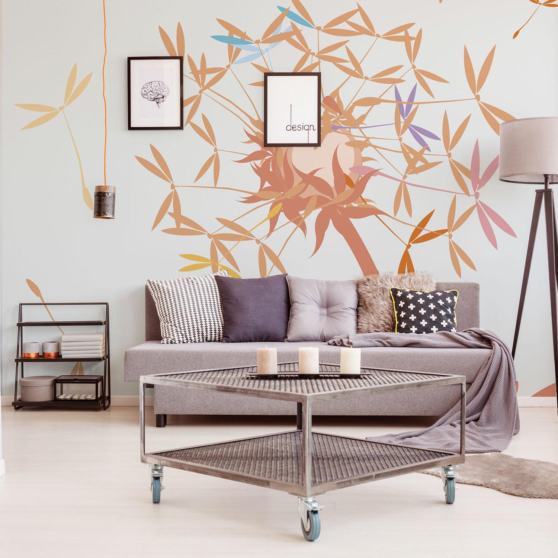 Visuel décoratif aux couleurs pétillantes, fleurs de printemps, envolée de graines, feu d'artifice coloré