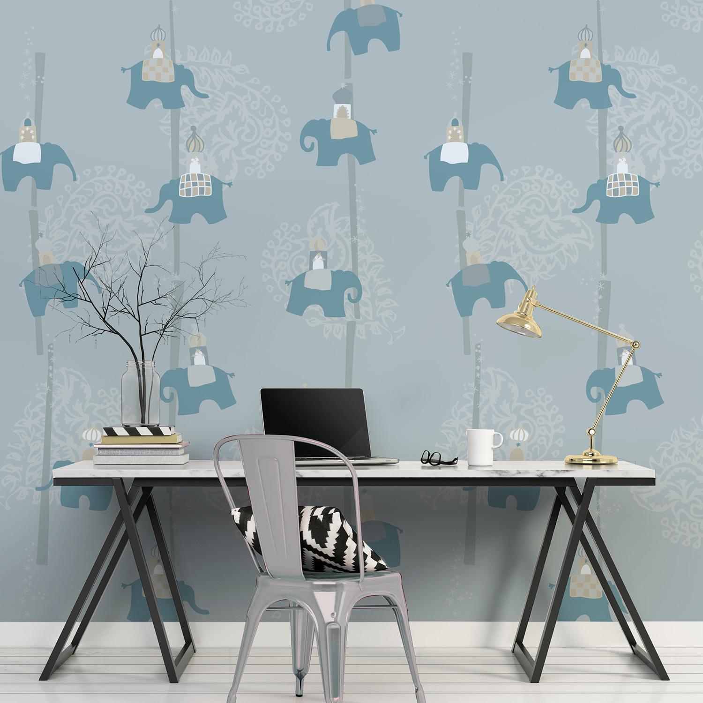 Visuel grand format, revêtement mural décoratif thème éléphants d'Asie, chambre d'enfants, illustration grise et bleue, arabesques