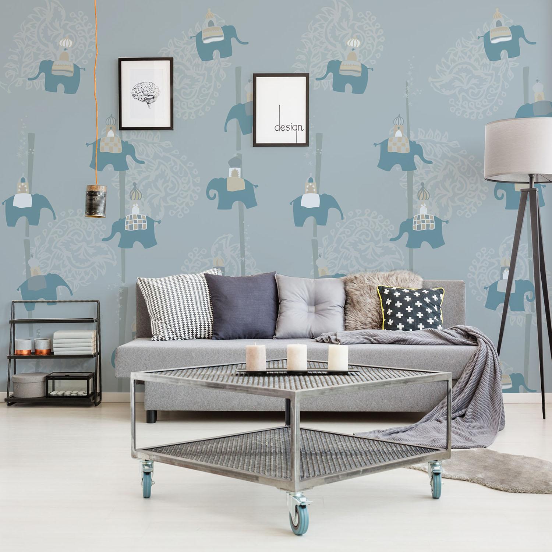 Visuel, poster, mur d'image grand format, farandole d'éléphants bleus, fond gris, arabesques, inspiration Inde, Asie