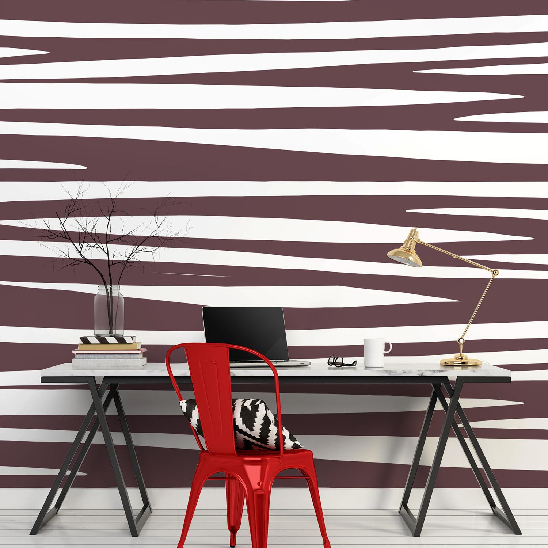 Revêtement mural décoratif, couleur chocolat et blanc, motif rayures zèbre, ethnique chic, décoration moderne