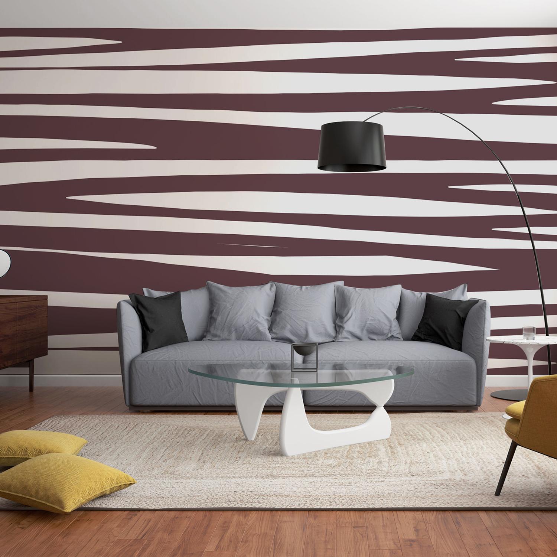 Illustration murale grand format, papier intissé décoratif, motif zébré chocolat et blanc, tendance moderne chic