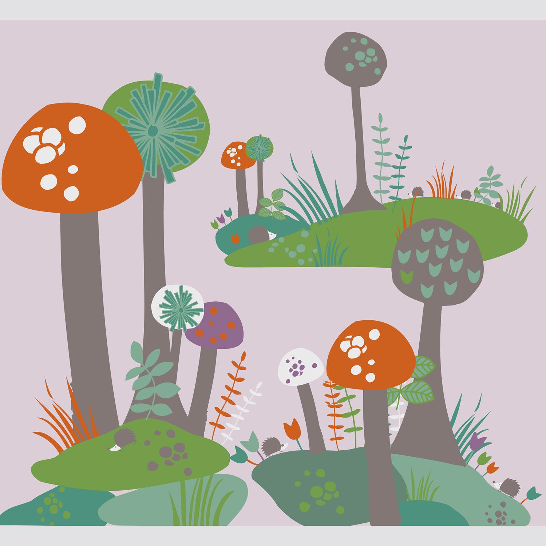 Poster décoratif à coller pour enfant, tendance sixties, illustration originale et colorée, motif « arbre-champignon », baba cool