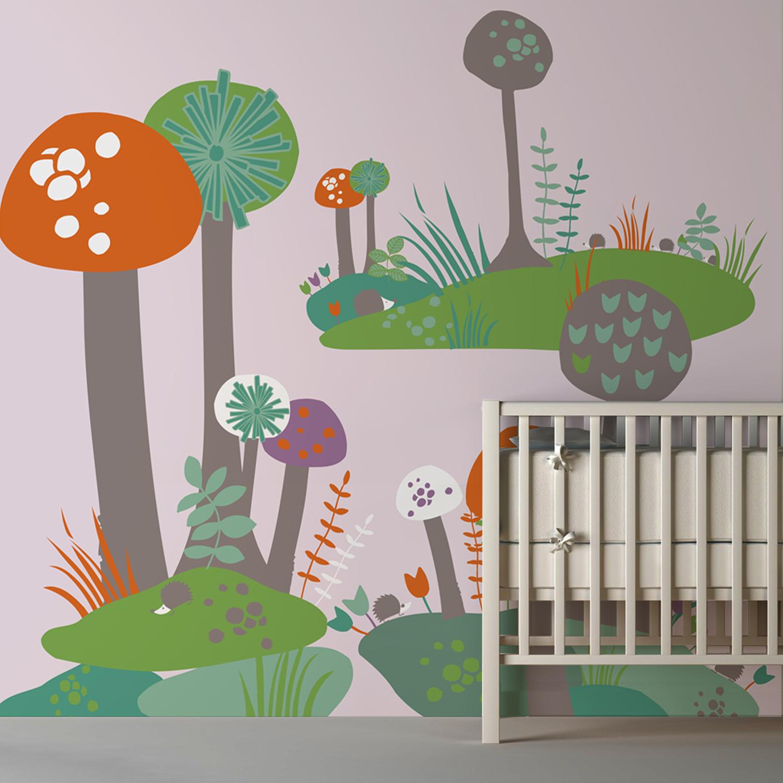 Illustration pour chambre d'enfant balade dans la forêt enchantée, « arbre-champignon », décor mural géant pour enfant, orange, vert et bleu