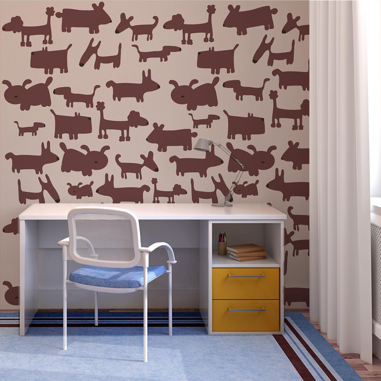Poster grand format à encoller, chiens marron sur fond taupe, papier intissé facile à poser, décoration mixte