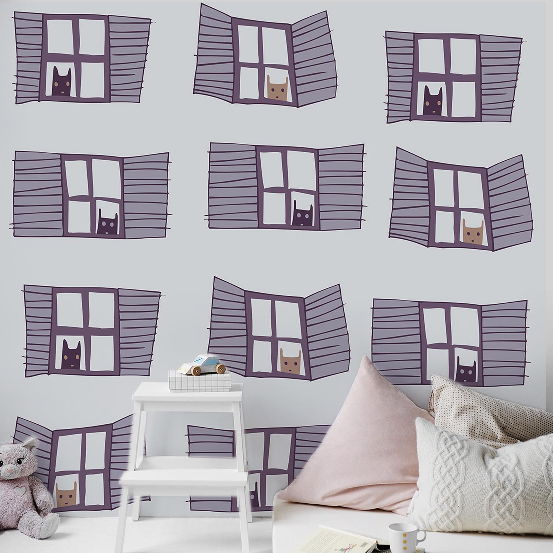Mur d'image prêt à être encollé, bandes de papier intissé décoratif, visuel pour chambre, motifs enfantins, douze chats à la fenêtre