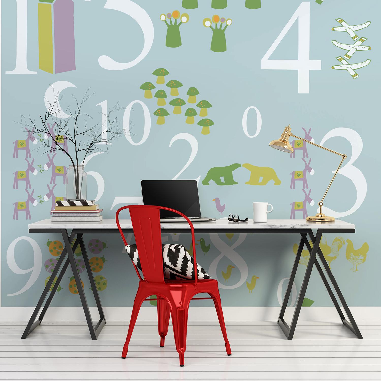 Visuel mural décoratif pour enfant, « j'apprends à compter », papier intissé à coller, motifs ludiques et instructifs, couleur pastel, chiffres