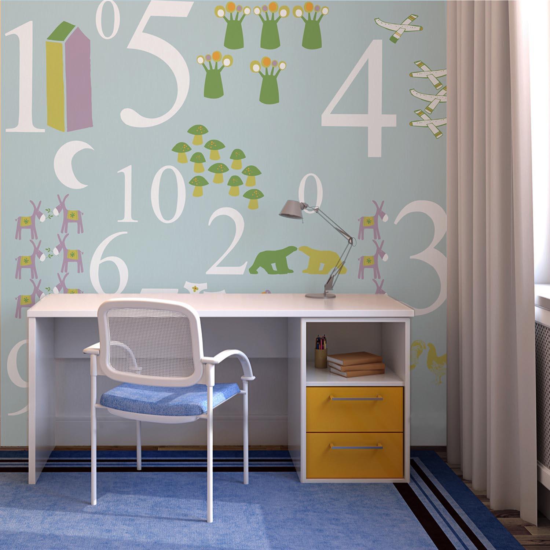 Visuel mural, mur d'image décoratif pour enfant, illustration ludique, chiffres de 1 à 10, motifs animaux, couleurs pastel mixtes