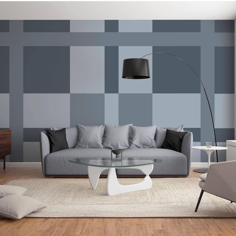 Visuel mural décoratif, mur d'image à poser facilement, tissus écossais gris, inspiration kilt et tartan