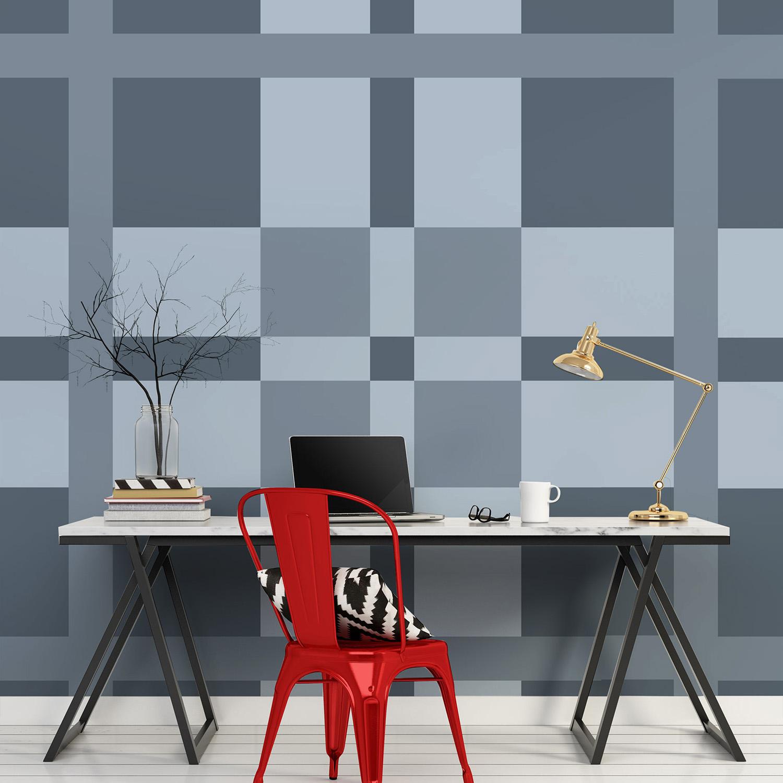 Visuel géant imitation tissus écossais, camaïeu de gris, inspiration mode anglaise, scottish, poster décoratif à coller