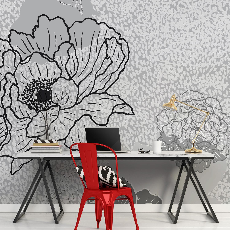 Mur d'image bouquet fleuri gris