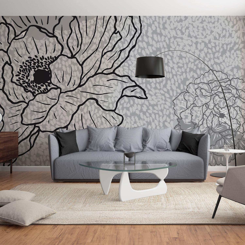Visuel d'ambiance, pivoines et fleurs grises et noires, mur d'image grand format design chic, illustration champêtre