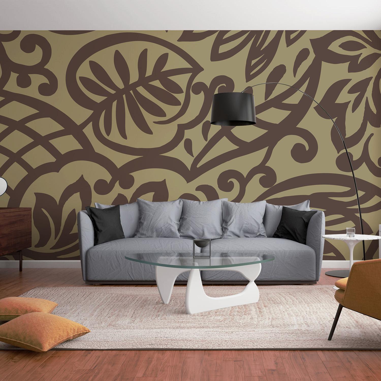 Mur d'image géométrique feuilles marrons