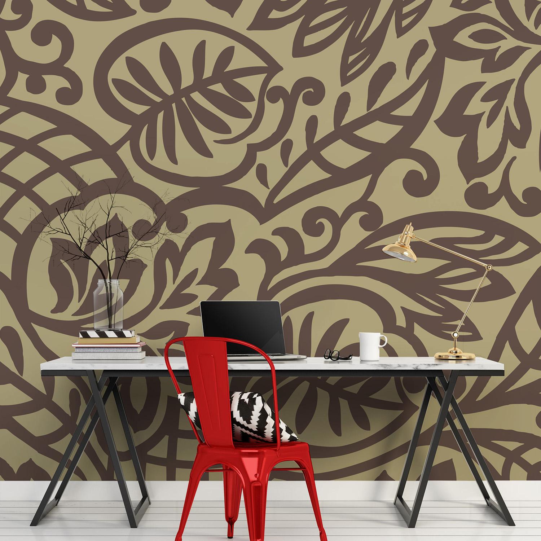Revêtement mural décoratif, papier intissé trois bandes, feuillage et courbes sinueuses, inspiration orientale, style baroque