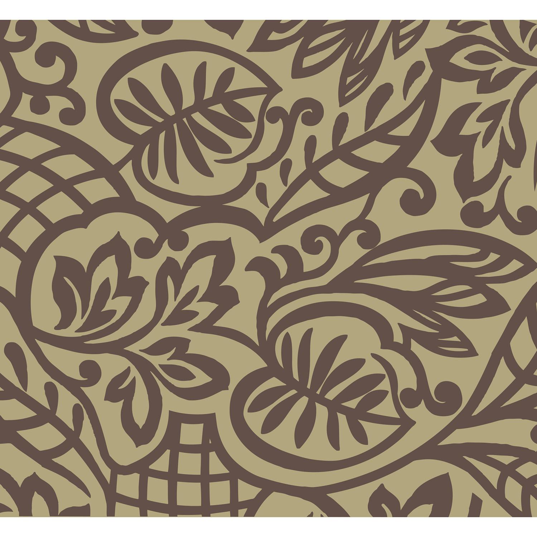 Mur d'image, visuel décoratif à coller, arabesques feuillages, inspiration orientale, style baroque, motif chocolat sur fond crème