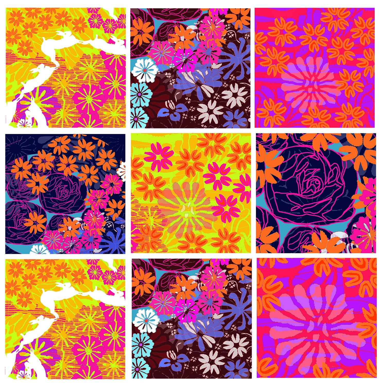 Carrés déco adhésifs rose et orange floral