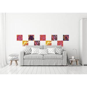 Stickers décoratifs en tissus, fleurs aux couleurs acidulées, ambiance pop, repositionnables, motifs différents selon les pièces