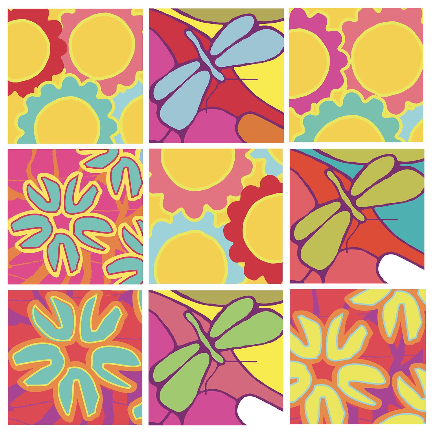 adhésif carrés fleurs et libellules colorées