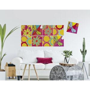 Stickers décoratifs textiles, fleurs et libellules aux couleurs acidulées, ambiance pop printemps, repositionnables