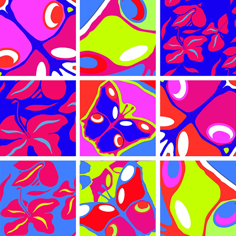 stickers carrés papillons et fleurs