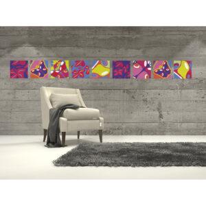 Stickers décoratifs textiles, fleurs et papillons aux couleurs acidulées, ambiance printemps, repositionnables, bleu, jaune fluo et rose