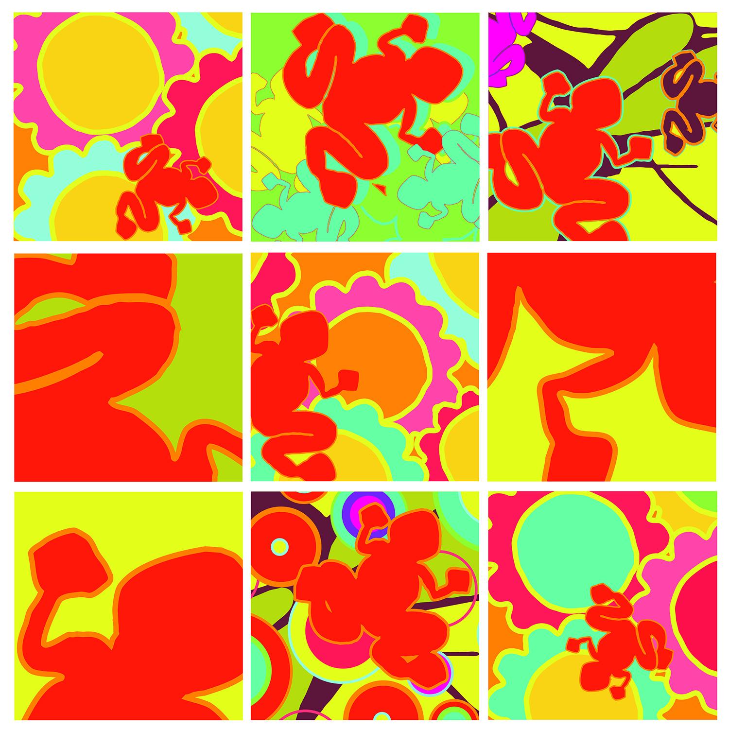 carrés autocollants grenouilles et fleurs