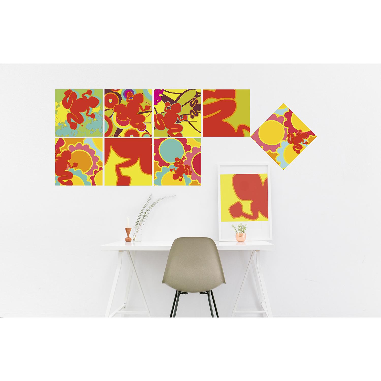 Stickers décoratifs textiles, grenouilles aux couleurs acidulées, ambiance pop nature, repositionnables, bleu, orange, jaune et vert