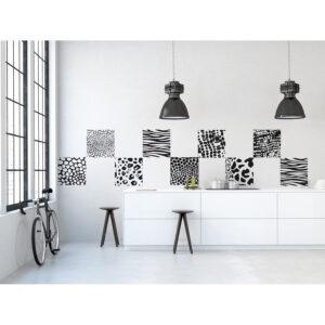 Stickers décoratifs en tissus, black and white, ambiance design, repositionnables, motifs animaux, moderne, noir et blanc