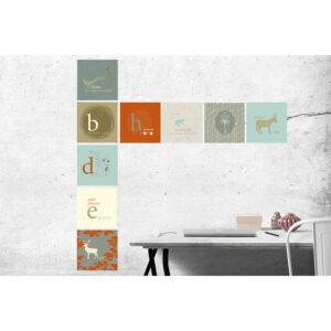 Stickers décoratifs textiles, jeux de mots, scandinave, motifs dépareillés, repositionnables, bleu, gris et orange