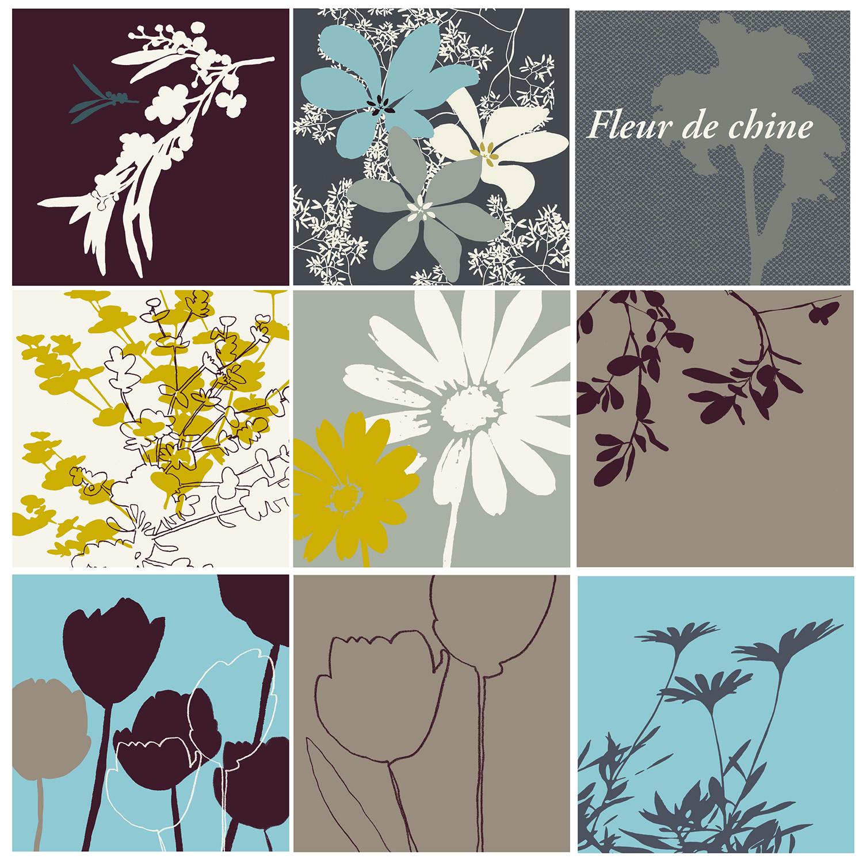 autocollant carrés déco fleurs gris taupe