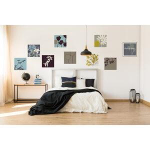 Stickers décoratifs textiles, mélange osé de couleurs tendances, motifs champêtres dépareillés, repositionnables, bleu ciel, vert, noir et gris