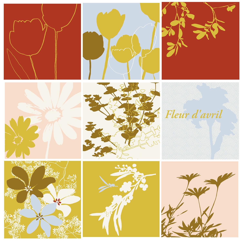 9 carrés stickers fleurs teintes vertes et ocre