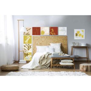 Stickers décoratifs textiles, teintes automnales pour illustrations estivales, repositionnables, terracotta, vert et jaune
