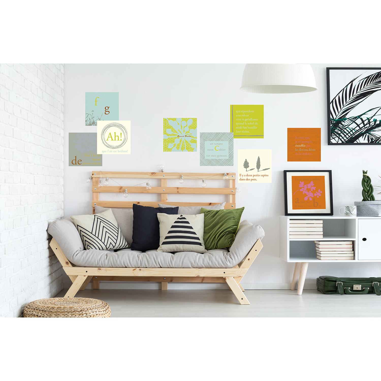 Stickers décoratifs textiles, minimaliste, scandinave, motifs aux couleurs tendres, repositionnables, bleu, gris et vert, pastel